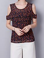 Недорогие -Жен. Блуза С открытыми плечами Однотонный Цветочный принт