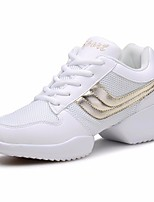 cheap -Women's Dance Sneakers Tulle Sneaker Low Heel Customizable Dance Shoes White / Black / Red