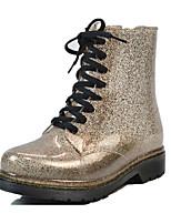 Недорогие -Жен. Обувь Лак / ПВХ Наступила зима Резиновые сапоги Ботинки На толстом каблуке Круглый носок Серебряный / Розовый / Темно-коричневый