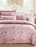 cheap -Duvet Cover Sets Floral / Luxury 100% Cotton / Cotton Jacquard Jacquard 4 Piece