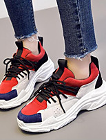 cheap -Women's Shoes Leather Spring Comfort Sneakers Creepers for Casual Red