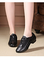 cheap -Women's Modern Shoes Tulle / Leather Oxford / Sneaker Performance / Practice Flat Heel Dance Shoes Black