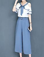 Недорогие -Жен. Изысканный / Уличный стиль Вспышка рукава Набор Брюки - С отверстиями / Бант, Однотонный / Контрастных цветов