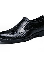 cheap -Men's Shoes Leatherette Fall Comfort Loafers & Slip-Ons Black / Brown