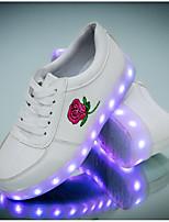 Недорогие -Девочки Обувь Полиуретан Весна лето Обувь с подсветкой Кеды Для прогулок для Для подростков Красный / Розовый