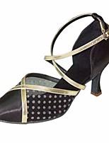 Недорогие -Жен. Обувь для модерна Шёлк На каблуках Выступление / Тренировочные На шпильке Танцевальная обувь Черный
