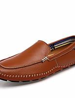 Недорогие -Муж. обувь Кожа Весна Удобная обувь Мокасины и Свитер Черный / Коричневый / Синий
