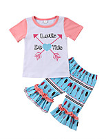 cheap -Toddler Girls' Print Patchwork Short Sleeves Clothing Set