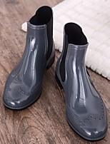 Недорогие -Жен. Обувь КожаПВХ Весна Резиновые сапоги Ботинки На толстом каблуке Черный / Темно-синий / Серый