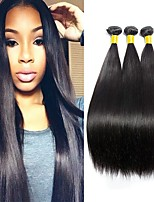cheap -Brazilian Hair Straight Unprocessed Human Hair Natural Color Hair Weaves / Human Hair Extensions 3 Bundles Human Hair Weaves Best Quality / Hot Sale / For Black Women Natural Black Human Hair