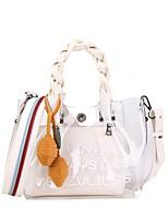 cheap -Women's Bags PVC Bag Set Zipper for Casual Black / Blushing Pink / Khaki