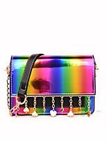 cheap -Women's Bags PU Leather Shoulder Bag Sequin / Zipper Black / Blushing Pink / Beige