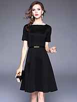 cheap -SHIHUATANG Women's Vintage / Basic A Line / Little Black Dress - Solid Colored