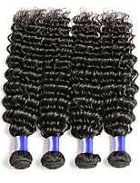 cheap -Mongolian Hair / Deep Wave Wavy Natural Color Hair Weaves / Costume Accessories / Extension 4 Bundles Human Hair Weaves Life / Women / Hot Sale Natural Black Human Hair Extensions Women's