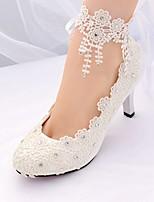 preiswerte -Damen Schuhe Spitze Frühling Sommer Knöchelriemen / Pumps Hochzeit Schuhe Stöckelabsatz Spitze Zehe Strass / Quaste für Hochzeit /