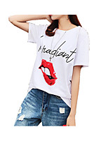 cheap -Women's Cute T-shirt - Solid Colored / Letter Print