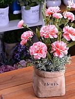 abordables -Fleurs artificielles 1 Une succursale Rustique Oeillets Fleur de Table