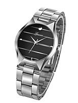cheap -Men's Quartz Wrist Watch Chinese Chronograph Large Dial Stainless Steel Band Luxury Creative Black Silver