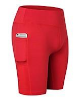 abordables -Femme Poche Shorts de Yoga - Noir, Rouge, Bleu Des sports Couleur Pleine Spandex Cuissard  / Short Tenues de Sport Léger, Séchage rapide, Design Anatomique Elastique