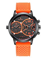 cheap -Men's Sport Watch Chinese Noctilucent / Dual Time Zones Rubber Band Casual / Fashion Black / Orange / Yellow