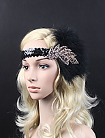 cheap -The Great Gatsby Vintage / 1920s Costume Women's Flapper Headband Black Vintage Cosplay Feather Sleeveless
