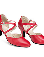 cheap -Women's Modern Shoes Cowhide Heel Performance Practice Stiletto Heel Black Red