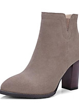 cheap -Women's Shoes Cowhide Nubuck leather Winter Bootie Boots Chunky Heel Booties / Ankle Boots for Casual Black Khaki