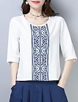 Недорогие -Жен. С кисточками Блуза Винтаж Однотонный Синий и белый