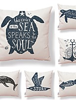 cheap -6 pcs Textile / Cotton / Linen Pillow case, Art Deco / Nautical / Printing Square Shaped / Accent / Decorative