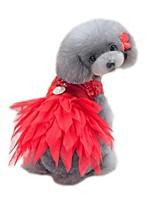 Недорогие -Животные Платья Одежда для собак Однотонный / Пайетки / Цветочные / ботанический Черный / Красный Хлопок / полиэфир Костюм Для домашних