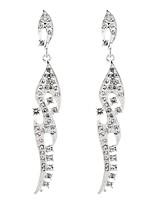 baratos -Mulheres Brincos Compridos - Doce, Fashion, Elegante Prata Para Casamento / Festa