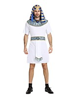 cheap -Egyptian Costume Outfits Men's Halloween / Carnival / Day of the Dead Festival / Holiday Halloween Costumes White Solid Colored / Striped