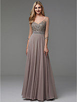 cheap -A-Line V Neck Floor Length Chiffon Prom / Formal Evening Dress with Beading by TS Couture® / Illusion Sleeve