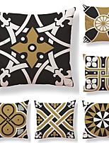 economico -6 pezzi Tessuto / Cotone / Lino Federa, Fantasia geometrica / Artistico / Stampe Quadrata / Modern