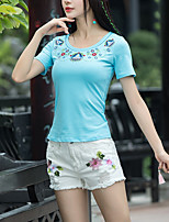 cheap -women's t-shirt - floral round neck
