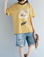 cheap -Women's Cotton T-shirt - Letter / Animal