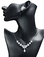cheap -Women's Cubic Zirconia Jewelry Set - Leaf, Drop Sweet, Fashion Include Drop Earrings / Pendant Necklace White For Wedding / Evening Party