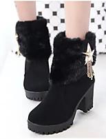 Недорогие -Жен. Обувь Полиуретан Зима Армейские ботинки Ботинки На толстом каблуке Ботинки Черный / Коричневый