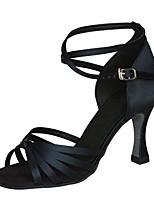 abordables -Mujer Zapatos de Baile Latino Seda Sandalia / Tacones Alto Hebilla Tacón Carrete Personalizables Zapatos de baile Negro / Almendra /