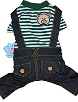 cheap -Dogs / Cats / Pets Jumpsuit Dog Clothes Striped / Bear / Animal Dark Blue / Green Cotton / Polyester Costume For Pets Male Cute Style /
