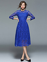 cheap -SHIHUATANG Women's Vintage / Sophisticated A Line / Swing Dress - Solid Colored Lace