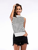 cheap -Women's Basic T-shirt - Striped Black & White, Cut Out