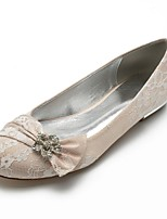 cheap -Women's Shoes Lace Summer Comfort / Ballerina Wedding Shoes Flat Heel Round Toe Rhinestone / Satin Flower / Sparkling Glitter Silver /