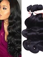 cheap -Brazilian Hair Wavy One Pack Solution / Human Hair Extensions 3 Bundles Human Hair Weaves Soft / Silky / Women Natural Black Human Hair Extensions Women's