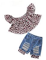 preiswerte -Kinder Baby Mädchen Leopard Kurzarm Kleidungs Set
