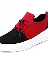 preiswerte -Herrn Leinwand Frühling / Herbst Komfort Sneakers Einfarbig Schwarz / Rot