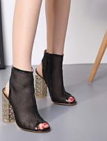 abordables -Femme Chaussures Polyuréthane Eté Bottes à la Mode Chaussures à Talons Talon Bottier Or / Noir / Soirée & Evénement