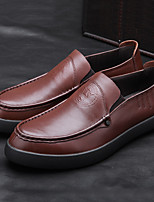 cheap -Men's Shoes Leather Summer Comfort Loafers & Slip-Ons Black Light Brown