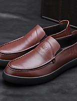 Недорогие -Муж. обувь Кожа Лето Удобная обувь Мокасины и Свитер Черный Темно-русый