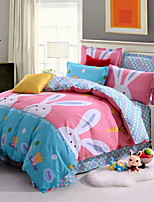 cheap -Duvet Cover Sets Cartoon Poly / Cotton Reactive Print 3 Piece